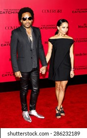 "Lenny Kravitz and Zoe Kravitz at the Los Angeles premiere of ""The Hunger Games: Catching Fire"" held at the Nokia Theatre L.A. Live in Los Angeles on November 18, 2013."