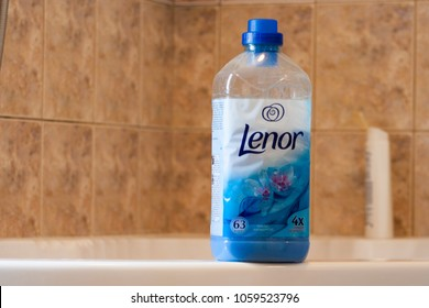 Lenor laundry cleaning liquid in a plastic bottle in a bathroom. Rzeszow, Poland - 27 March, 2018