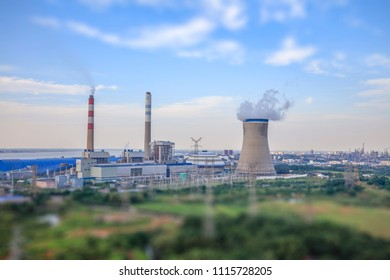 Lens effect of shafts camera:Aerial view of thermal power plant in China,industry landscape