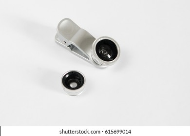 Lens fisheye for smartphone set with covers white background.
