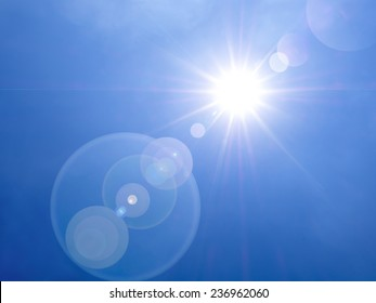lens flare in the afternoon on blue sky background