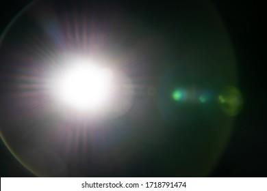Lens flare on the black background