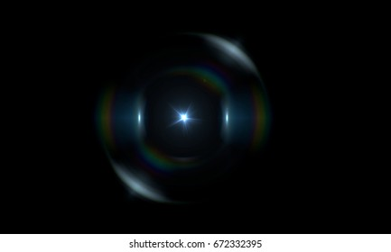 Lens flare or Star flare in black background.
