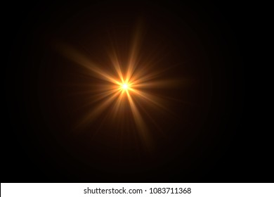 Lens Flare ,Sun Flare on black background object design