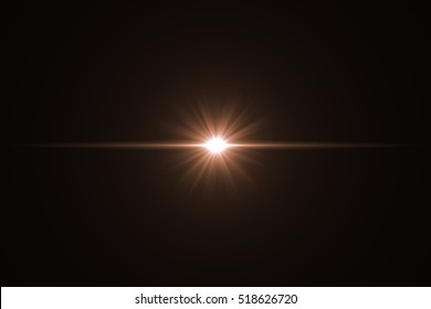 Lens Flare ,Sun Flare on black background object design.