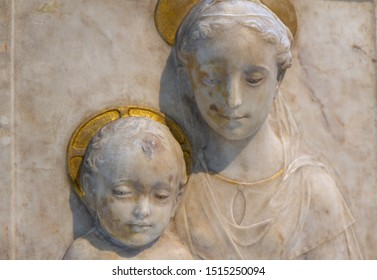 Lens, France. 2019/9/14. Virgin and Child. Around 1470. By Mino di Giovanni (also called Mino da Fiesole), 1429-1484. Stone, marble, traces of gilding. The Louvre Museum.