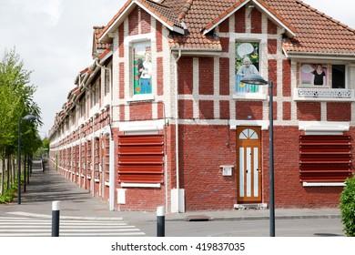 Lens - France - May 11, 2016: minor home alongside the Louvre - Lens