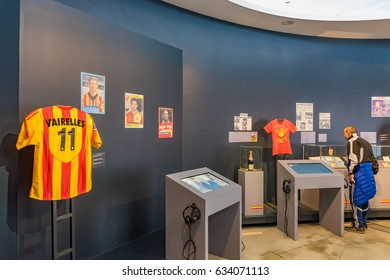 LENS, FRANCE - MAY 20, 2016: Exhibition of RC Lens in the Louvre-Lens, France. RC Lens,is a French football club based in the northern city of Lens.