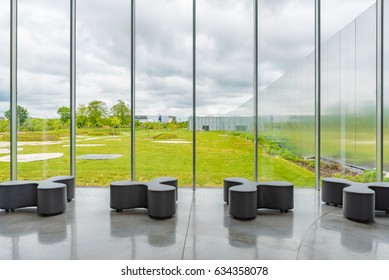 LENS, FRANCE - MAY 20, 2016: Windows with the view of the Louvre-Lens in Lens, France. The Louvre-Lens is an art museum located in Lens, Pas-de-Calais, Northern France.