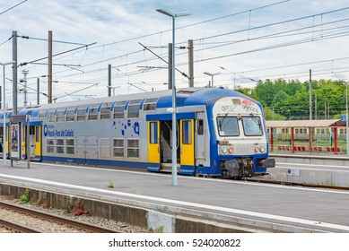 LENS, FRANCE - MAY 20: Lens Station of SNCF in Lens, France on May 20, 2016. Lens is a commune in the Pas-de-Calais department in northern France.