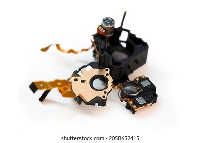 Lens image stabilization module. Copper winding for magnetic stabilizing lens unit images. Disassembled lens of a digital camera