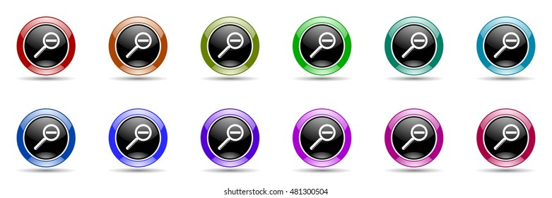 lens round glossy colorful web icon set