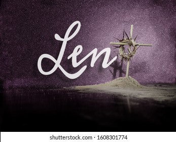 Lent Season,Holy Week and Good Friday concepts - Word Lent with a woven crown of thorns on wooden cross with ash in purple vintage background
