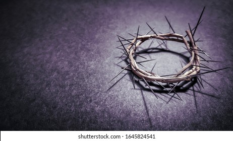 Lent Season,Holy Week and Good Friday concepts - photo of crown of thorns in purple vintage background. Stock photo  - Shutterstock ID 1645824541