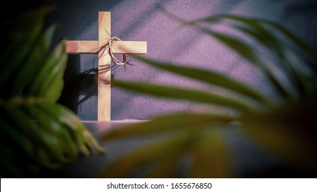 Lent Season,Holy Week and Good Friday concepts - image of wooden cross in vintage background