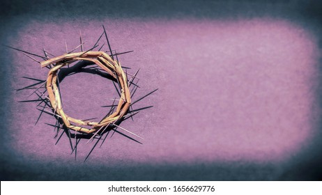Lent Season,Holy Week and Good Friday concepts - photo of crown of thorns in purple vintage background  - Shutterstock ID 1656629776