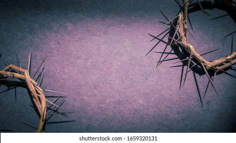 Lent Season,Holy Week and Good Friday concepts -image of crowns of thorns in purple vintage background
