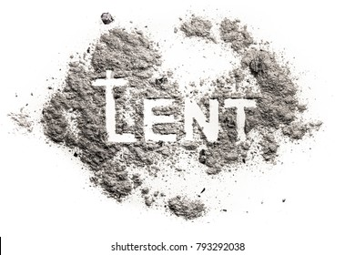 Lent word with cucifix drawing in ash, sand, dust as jesus fasting in desert, abstinence and penance concept, christian religion faith background