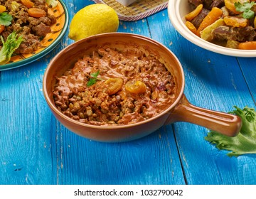 Lentil Bobotie, South African cuisine , Traditional assorted dishes, Top view.