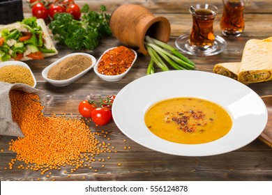 Lentil cream soup. Asian style. Turkish dish.