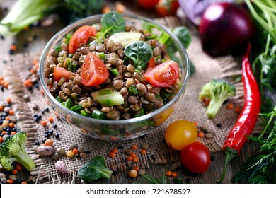 Lentil grain salad with veggies, healthy food, vegetarian and vegan snack, clean eating, diet, detox