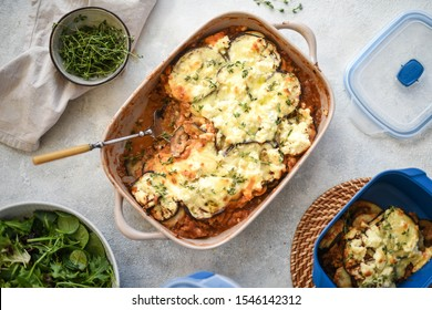 Lentil Moussaka topped with ricotta cheese