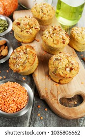 Lentil muffins with pumpkin seeds and almonds