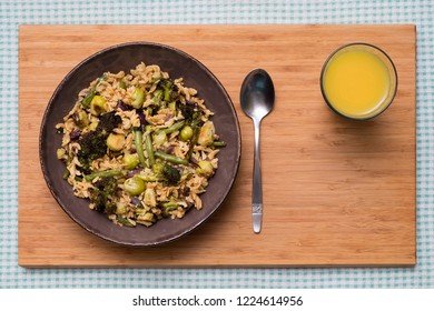 Lentil Noodles with Broccoli, Brussels Sprouts and Green Beans