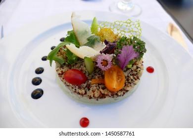 Lentil salad appetizer at a gourmet restaurant in Meknes, Morocco, Africa