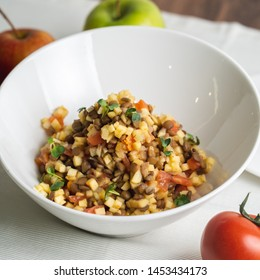 lentil salad with apples and tomato