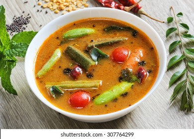 Lentil Sambar -Popular South Indian curry with lentil and vegetables