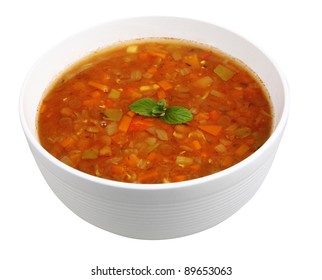 lentil soup isolated on white with clipping path