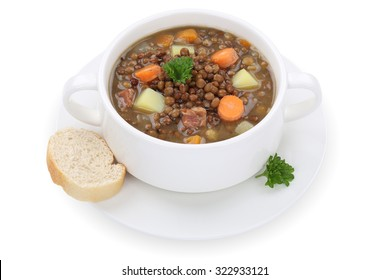 Lentil soup stew meal with lentils in cup isolated on a white background