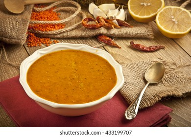 Lentil soup with wooden concept background