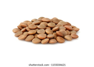 Lentils closeup isolated on white background.