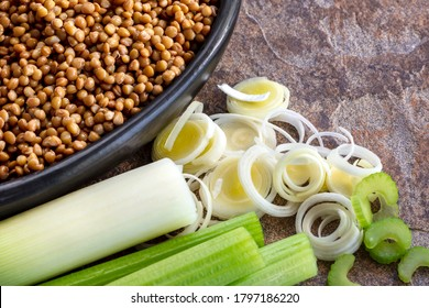 Lentils, leeks and celery.  Ingredients for healthy vegetarian soup.