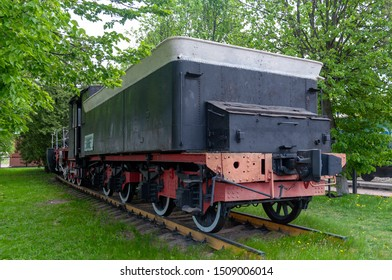 Leo Tolstoy settlement, Lipetsk Region / Russian Federation - May 12, 2018: Steam engine monument Ov-5804, station Leo Tolstoy of Southeast Railway