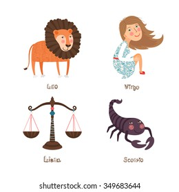 Leo, Virgo, Libra, Scorpio signs of Horoscope