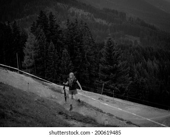 LEOGANG, AUSTRIA - JUNE 12, 2014: Rachel Atherton of GT Factory Racing is seen during On Foot Downhill Course Inspection at the UCI Downhill Mountain Bike World Cup in Leogang, Austria.