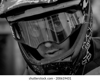 LEOGANG, AUSTRIA - JUNE 13, 2014: Danny Hart of Giant Factory Off-Road Team is seen after timed training of the UCI Downhill Mountain Bike World Cup in Leogang, Austria.