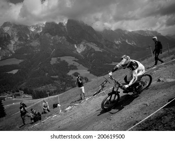 LEOGANG, AUSTRIA - JUNE 13, 2014: Gee Atherton of GT Factory Racing is seen during training of the UCI Downhill Mountain Bike World Cup in Leogang, Austria.