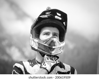 LEOGANG, AUSTRIA - JUNE 13, 2014: Steve Smith of Devinci Global Racing is seen after timed training of the UCI Downhill Mountain Bike World Cup in Leogang, Austria.