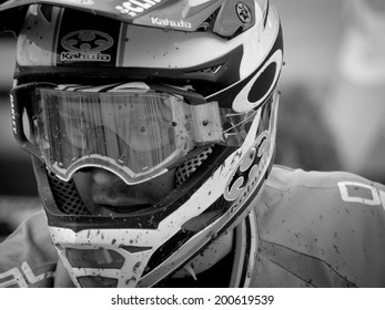 LEOGANG, AUSTRIA - JUNE 13, 2014: Greg Minnaar of Santa Cruz Syndicate is seen after timed training of the UCI Downhill Mountain Bike World Cup in Leogang, Austria.