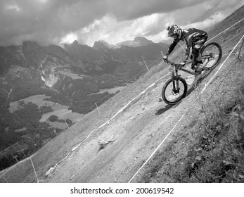 LEOGANG, AUSTRIA - JUNE 13, 2014: Brook McDonald of Trek World Racing is seen during training of the UCI Downhill Mountain Bike World Cup in Leogang, Austria.