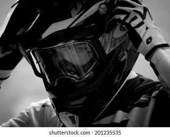 LEOGANG, AUSTRIA - JUNE 14, 2014: Taylor Vernon of GT Factory Racing is seen during training of the UCI Downhill Mountain Bike World Cup in Leogang, Austria.