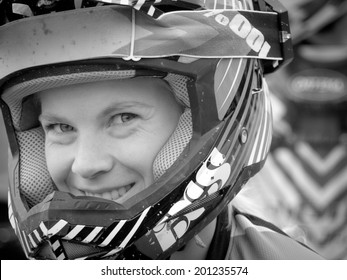 LEOGANG, AUSTRIA - JUNE 14, 2014: Tracey Hannah of Hutchinson UR is seen during training of the UCI Downhill Mountain Bike World Cup in Leogang, Austria.