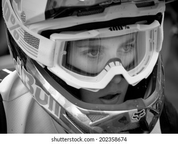 LEOGANG, AUSTRIA - JUNE 14, 2014: Myriam Nicole of Commencial/Riding Addiction is seen after Qualification at the UCI Downhill Mountain Bike World Cup in Leogang, Austria.