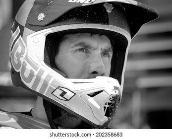 LEOGANG, AUSTRIA - JUNE 14, 2014: Gee Atherton of GT Factory Team  is seen after Qualification at the UCI Downhill Mountain Bike World Cup in Leogang, Austria.