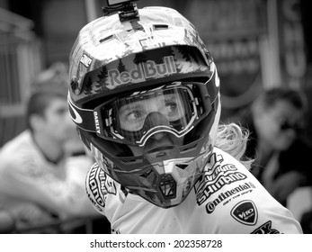 LEOGANG, AUSTRIA - JUNE 14, 2014: Rachel Atherton of GT Factory Team  is seen after Qualification at the UCI Downhill Mountain Bike World Cup in Leogang, Austria.