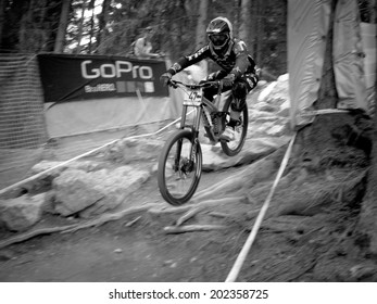 LEOGANG, AUSTRIA - JUNE 15, 2014: George Brannigan of Trek World Racing is seen during pre-final training at the UCI Downhill Mountain Bike World Cup in Leogang, Austria.